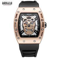 スカル腕時計 スケルトン ドクロデザイン ラバーバンド 防水 Baogela