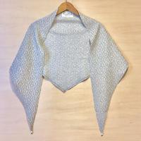 アンティークビーズ付きヤクウール/OGコットンジャガードスカーフ OFF-WHITE