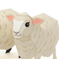 ひつじ(コリデール種&サフォーク種) :Corriedale Sheep & Suffolk Sheep(紙工作キット)