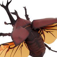 カブトムシ<飛翔>:Japanese rhinoceros beetle(紙工作キット)