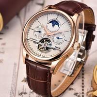 メンズ 腕時計 海外ブランド 機械式 自動巻き トゥールビヨン 50M防水 サファイヤガラス ムーンフェイズ 高級時計