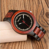BOBO BIRD レッド 木製 腕時計 クォーツ式 木の温もり スタイリッシュ アンティークデザイン