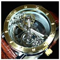 TIEDAN メンズ 機械式 腕時計 自動巻 スケルトン トゥールビヨン ゴールド ブラウン 革バンド
