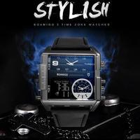 バイカー BOAMIGO ブランド 男性用 ファッション ウォッチ レザークォーツ 腕時計