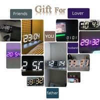 3D LED 壁時計 モダン デザイン デジタル 置時計 アラーム 常夜灯 ホーム リビング 装飾 インテリア