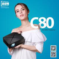 アウン ミニプロジェクター C80UP 1280×720 解像度 アンドロイド WiFi LED ポータブル 3D 18K ホームシネマ プロジェクター