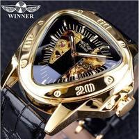 T-WINNER メンズ 腕時計 高級 レザー 機械式 三角 トップブランド スケルトン