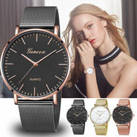 ファッション クォーツ時計 女性 メッシュ ステンレス スチール時計 カジュアル 腕時計