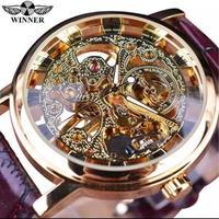 Winner ゴールド スケルトン ブラウン レザーバンド 機械式 腕時計 ビジネス