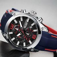 メンズ クロノグラフ アナログ クォーツ 腕時計 ルミナス 防水 シリコンゴム