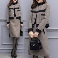 秋 女性 ジャケット+スカート ツーピース セット ヴィンテージ ウール スーツ フォーマル 大人