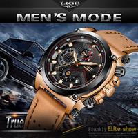 WISHDOIT メンズウォッチ ファッション 防水 アナログ クォーツ ウォッチ メンズ ラグジュアリー ビジネス ドレス 腕時計 クロノグラフ 日付 レザーストラップ