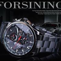 Forsining 3 ダイヤル カレンダー ステンレス メンズ 腕時計