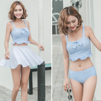 タンキニ ギンガムチェック ビスチェ スカート付き リボン 韓国 水着 体型カバー 大人 可愛い 海 夏 ホワイト
