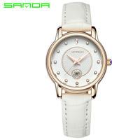 ゴールド クリエイティブ 女性 腕時計 レザーストラップ シンプル クォーツ レディース