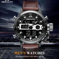メガリス MEGALITH 腕時計 メンズ スポーツ レザー 防水 クロノグラフ 時計 ブラック アナデジ 多機能 ウオッチ ルミナス 夜光