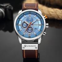 海外 人気 ブランド CURREN メンズ 高品質 腕時計 クロノグラフ 防水 クォーツ式 レザーバンド