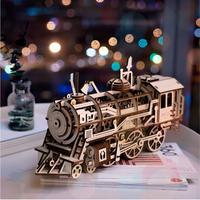 Robotime DIY 時計じかけ ギア ドライブ 機関車 3D 木製 モデル 作成キット おもちゃ 趣味 ギフト 子供