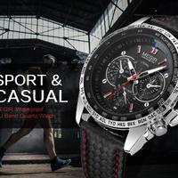 MEGIR メンズ 腕時計 高級ブランド 男性 時計 クォーツ ミリタリー アーミー 革ストラップ ビジネス クォーツ