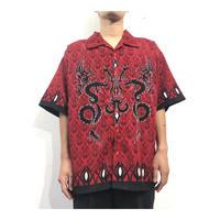 00s Dragon Design polyester S/S shirt