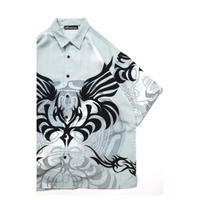00s Tribal Print Polyester S/S shirt