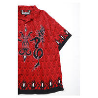 00s Dragon Design polyester S/S shirt