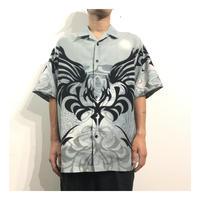00s Tribal Print Polyester S/S shirt