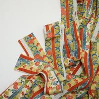 縞に花古典柄模様【ギャザーラップスカート】