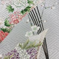 紗綾形地紋に春秋草花模様【タックラップスカート】