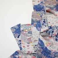 雲に草花・扇模様【ギャザーラップスカート】