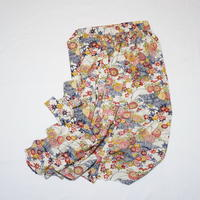 型染柴垣に椿・笹模様【ギャザーラップスカート】