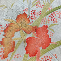 紅葉に牡丹模様七宝地紋【ギャザーラップスカート】