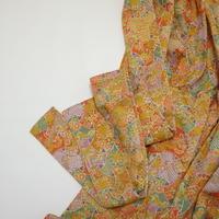 幾何学取りに古典草花模様【ギャザーラップスカート】