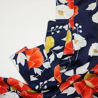 椿模様立縞地紋模様【化繊】【タックラップスカート】