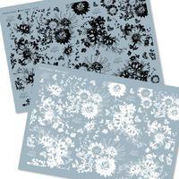 ★ガラス用★【2種セット】Flower Modern/ブラック・ホワイト