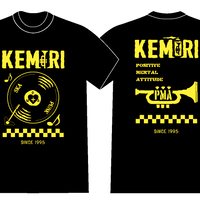 レコード Tシャツ(ブラック-イエロー)