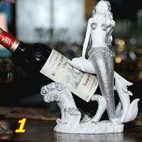 ワインボトルホルダー グラスを持つ人魚姫 アンティーク風
