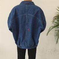 大人気 ビックシルエット デニムジャケット【ダークブルー L】