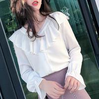 デザインセンスニッチVネックシャツフリル白いシャツファッションシフォンシャツ