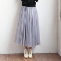 チュチュ スカート ロング丈 ボリューム チュールスカート