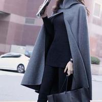 【M】灰色 フード付き ポンチョ コート