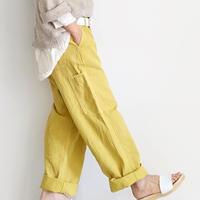 ichiAntiquités 500632 Cotton Herringbone Color Work Pants / YELLOW