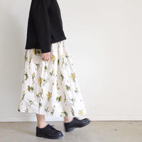 i c h i 181018 Botanical Flower Skirt / Beige