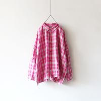 ichiAntiquités 500303 Linen Check Shirt / PINK