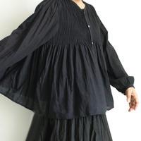 ichiAntiquités  601238  KHADI Cotton Pintuck Flare Shirt / B : BLACK