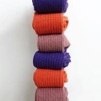Loiter L019 Linen Color Rib Socks / 3 COLORS : SMOKE PINK・ORANGE・PURPLE