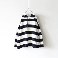 【ONLINE LIMITED】i c h i 201061 Border Hoodie / A :  White × Black