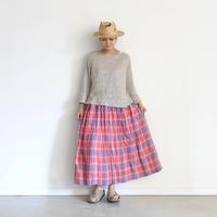 ichiAntiquités 600917 Linen Farmers Tartan Skirt / A : RED