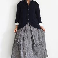 ichiAntiquités 500912  Cotton Linen Gingham Skirt / 2 COLORS