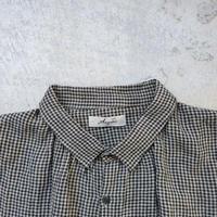 ichiAntiquités 500164 AZUMADAKI Linen Gingham Shirt Dress / BEIGE